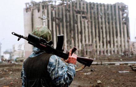 Čečėnija. Groznas. Sugriauti Džocharo Dudajevo rūmai.