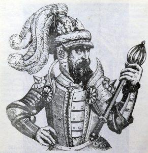 Karaliaus Gedimino sūnus Algirdas. XVI a. raižinys iš A.Gvanjinio knygos.