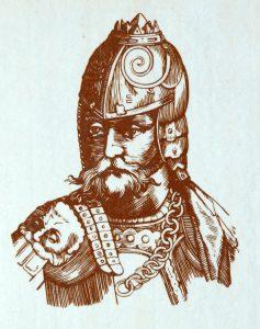 """Lietuvos karalius Gediminas. A.R.Šakalio rekonstrukcija pagal S.Gvanjinio 1578 metų kronikos """"Europos Sarmatijos aprašymas"""" iliustraciją."""