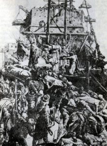 Vilniaus Gedimino pilies statyba. M.E.Andriolio paveikslas.