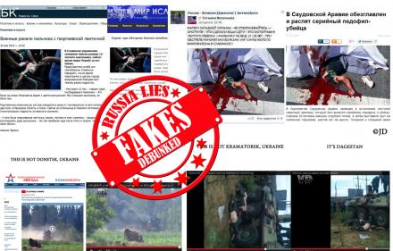 Stopfake.org nuotraukoje:   klaidinantys, meluojantys, dezinformuojantys Rusijos pranešimai ir pareiškimai.