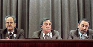 GKČP perversmininkai 1991-ųjų rugpjūčio 19-ąją kalba per Rusijos televiziją.