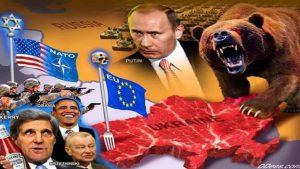Propagandinis plakatas apie Ukrainos ir Rusijos santykius įskaitant ir Europos Sąjungos bei JAV poziciją