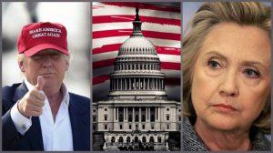 Donaldo Trampo ir Hilari Klinton dvikova.