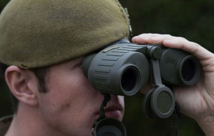Seen here the Brand new binoculars, which weigh half as much as the previous standard issue to lighten the load troops have to carry. The new binoculars are designed to be more comfortable to hold and despite being smaller provide excellent magnification. Around 16,000 pairs will be distributed to the Army in the next two years with the RAF and Royal Navy following suit.   £50M OF NEW ARMY KIT HELPS SOLDIERS SEE MORE CLEARLY  British troops are to benefit from up to £53 million of new equipment to help them identify targets more clearly.  The MoD has invested in new night vision and laser equipment that will enable soldiers to spot potential threats earlier and better protect themselves against the enemy during day and night operations.   A state of the art laser light that can illuminate targets from up to 800m away will be provided to all infantry soldiers. Weighing just 244 grams, it fits onto the SA80 rifle to give more accurate firing in low light conditions.