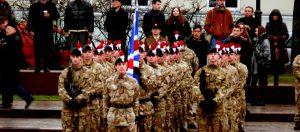 Didžiosios Britanijos kariai parado metu Vilniuje. Vytauto Visocko (Slaptai.lt) nuotr.