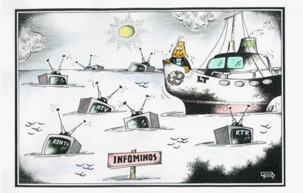 """Karikatūra """"Infominos"""". Rimanto Dovydėno piešinys."""