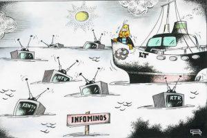 """""""Infominos"""". Karikatūra. Piešinio autorius - dailininkas Rimantas Dovydėnas."""