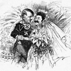 """Hitlerio ir Stalino """"vestuvės"""". 1939-ųjų metų karikatūra."""