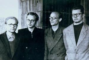 Kambario draugai. Iš kairės - Vilius Baltrėnas, Juozas Girdzijauskas, Aleksas Girdenis, Algis Kinderis