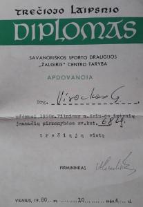 Diplomas, bylojantis apie dziudo varžybose laimėtą trečiąją vietą. Slaptai.lt nuotr.
