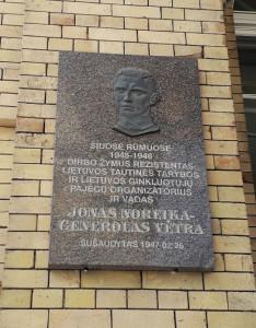 Jonas Noreika - generolas Vėtra. Paminklinė lenta. Slaptai.lt nuotr.