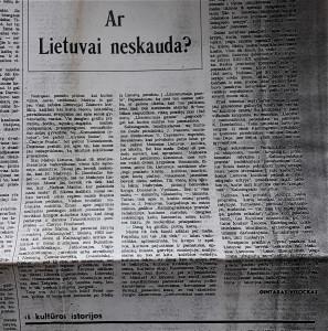Ar Lietuvai neskauda. Tekstas - apie Mažąją Lietuvą