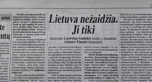 Liudvikas Gadeikis. Lietuva nežaidžia. Ji tiki