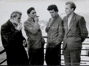 A.Patašius, S.Varnagiris, R.Ozolas, A.Rosinas Tauro bendrabučio balkone