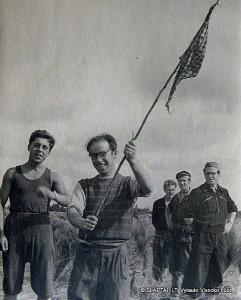Iš linų lauko. J.Karosas, A.Morozovas, K.Kačergis, V.Račkaitis ir A.Pupkis